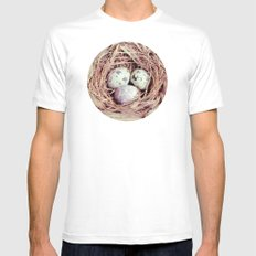 Birds Nest Eggs Mens Fitted Tee White SMALL