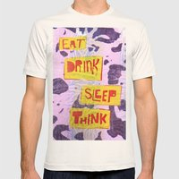 Eat Drink Sleep Think Mens Fitted Tee Natural SMALL