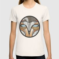 owl face Womens Fitted Tee Natural SMALL