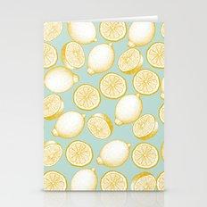 Lemons On Turquoise Background Stationery Cards
