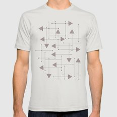 Lines & Arrows Mens Fitted Tee Silver SMALL