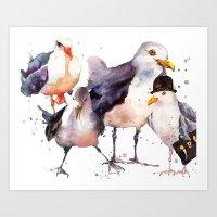 Seagulls, Seagull Painti… Art Print
