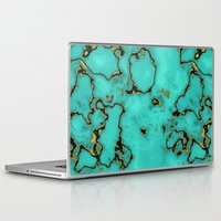 Laptop Skins featuring GOLD TURQUOISE by Oksana Smith
