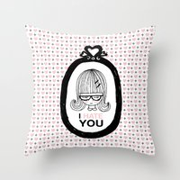 I Hate You / Picture Throw Pillow