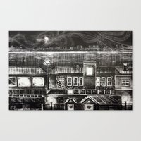 House of Elements - Black and white cityscape lithograph Canvas Print