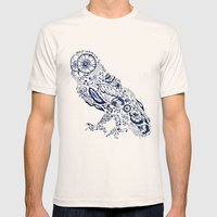 Folk Floral Indigo Owl Mens Fitted Tee Natural SMALL