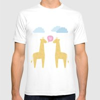 Spotty Giraffe Mens Fitted Tee White SMALL