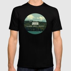 She Looks for Adventure  SMALL Black Mens Fitted Tee