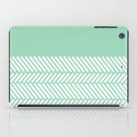 Herringbone Mint Boarder iPad Case