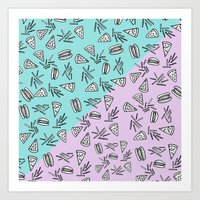 Burgers Pizza Fries in Pastel  Art Print