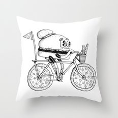 Pizzabike Burger Throw Pillow