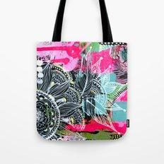 pink and black Tote Bag