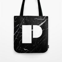 Black Marble - Alphabet P Tote Bag