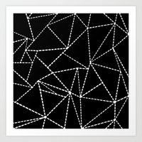 Abstract Dotted Lines White on Black Art Print