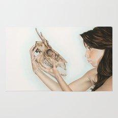 Confrontation, animal skull and human Rug