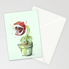 Piranha Plant Watercolor Stationery Cards
