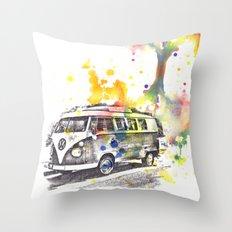 Classic Vw Volkswagen Bus Van Painting Throw Pillow