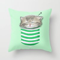 Cat In The Pocket Throw Pillow