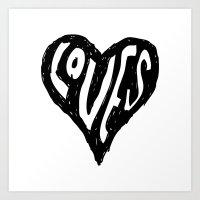 BLACK HEART Art Print