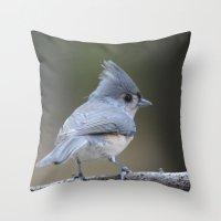 A Tufted Titmouse Throw Pillow