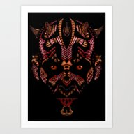 Halloween Aztec Devil Ma… Art Print