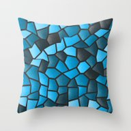 Turquoise And Black Mosa… Throw Pillow