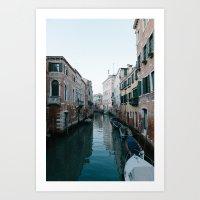 Empty boats in Venice Art Print