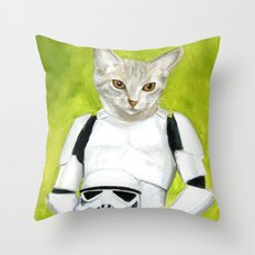 Poopy the Kitty Storm Trooper  Throw Pillow