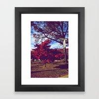 Fall My Way | Red Framed Art Print