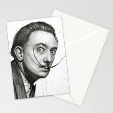 Salvador Dali Watercolor Portrait Stationery Cards