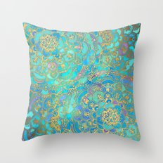 Sapphire & Jade Stained … Throw Pillow