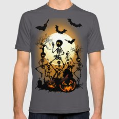 Skeletons Macabre Dance Mens Fitted Tee Asphalt SMALL