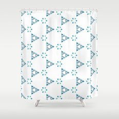 Little blue triangles Shower Curtain