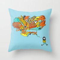 Thinking Of Monsters Throw Pillow