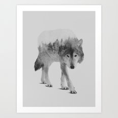 Wolf In The Woods (black & white version) Art Print