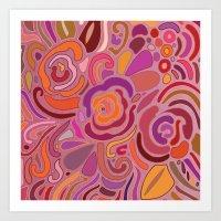 Rose fragments, pink, purple and orange Art Print
