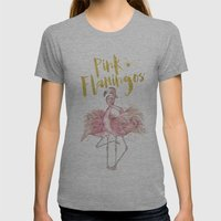 Pink Flamingos Womens Fitted Tee Athletic Grey SMALL