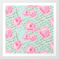 Pink  Roes and French Script Art Print