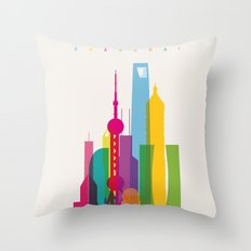 Shapes of Shanghai. Accurate to scale Throw Pillow