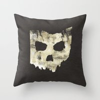 Ohio Skull Throw Pillow