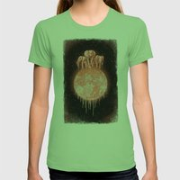 Elephants On Moon (varia… Womens Fitted Tee Grass SMALL