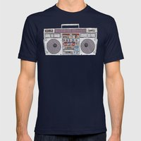 paper jams Mens Fitted Tee Navy SMALL