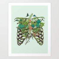 green Art Prints featuring Daydreamer by Huebucket