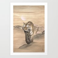 Art Print featuring Walking Tiger by Spadecaller