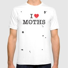 I Love Moths SMALL Mens Fitted Tee White