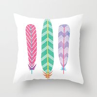 Feather Collage Throw Pillow