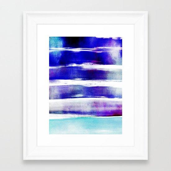 waves - indigo Framed Art Print