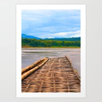 Floating Bamboo jetty Mekong River Art Print