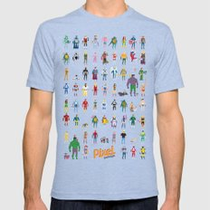 Pixel Nostalgia Mens Fitted Tee Tri-Blue SMALL