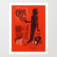 Cat Movie - orange Art Print